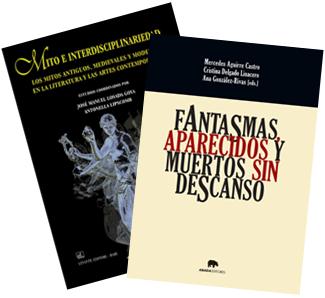 Collage of collective volumes: Fantasmas, aparecidos y muertos sin descanso and Mito e interdisciplinariedad